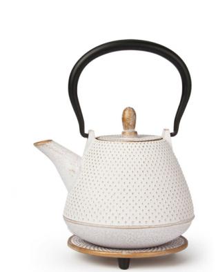 Teekanne aus Gusseisen Kyoto mit Untersetzer 0,4l weiß-gold