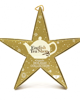 """English Tea Shop – Weihnachtsstern zum Aufhängen """"Gold Star"""", BIO-Tee, 6 Pyramidenbeutel"""